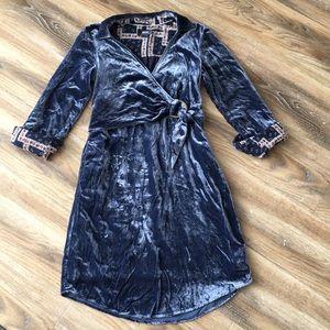 Maeve by Anthropologie Crushed Velvet Shirt Dress